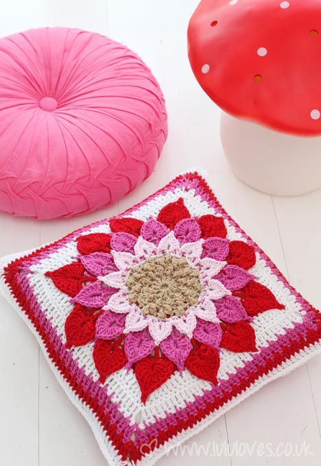 Free Crochet Crocodile Flower Cushion Pattern. | Free Crochet Pillow ...