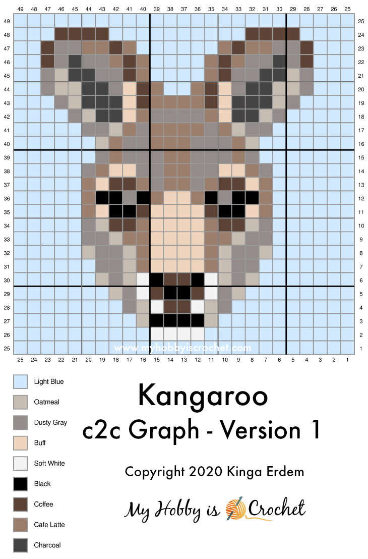 Kangaroo C2C Square - Free Crochet Pattern + Graph   Wildlife Graphghan CAL Block 24