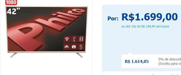 "Smart TV LED 42"" Full HD Philco PH42F10DSGWA Android Wi-Fi Midiacast Entradas HDMI e USB << R$ 152910 em 10 vezes >>"