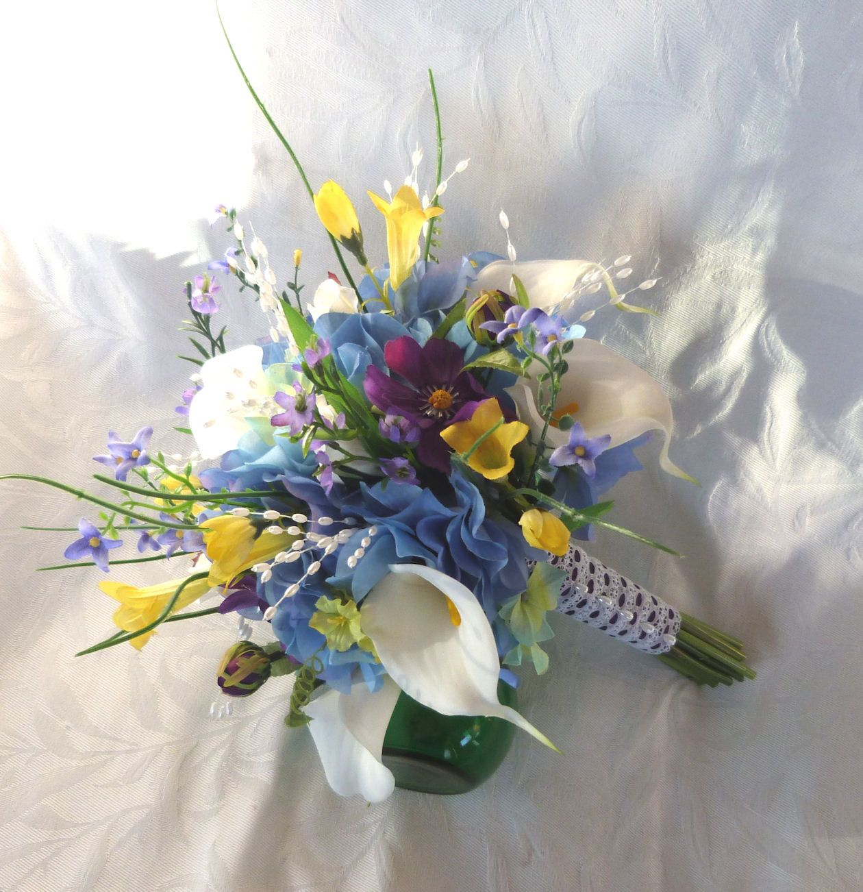 Reserved Wedding Bouquet White Calla Lilies Blue Yellow
