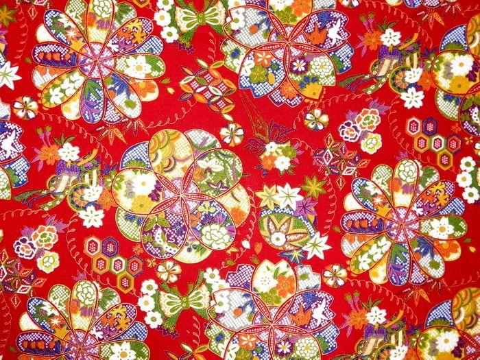 Tissu Japonais En Grande Fleuren Motif Moderne , Le Fond Rouge