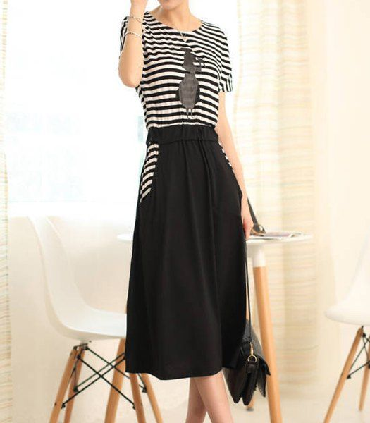 $10.06 Striped Scoop Neck Printed Short Sleeve Casual Dress For Women Maybe buying this...