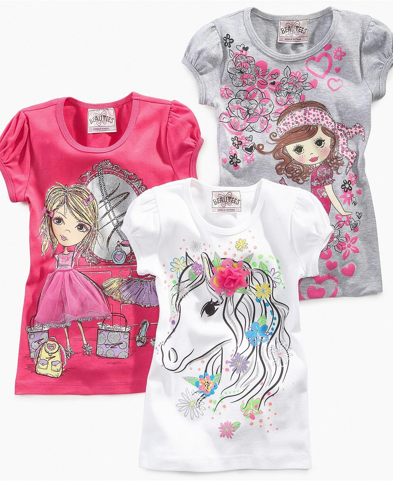 164fa9789 Beautees Kids Shirt, Little Girls Graphic Tee - Kids - Macy's ...