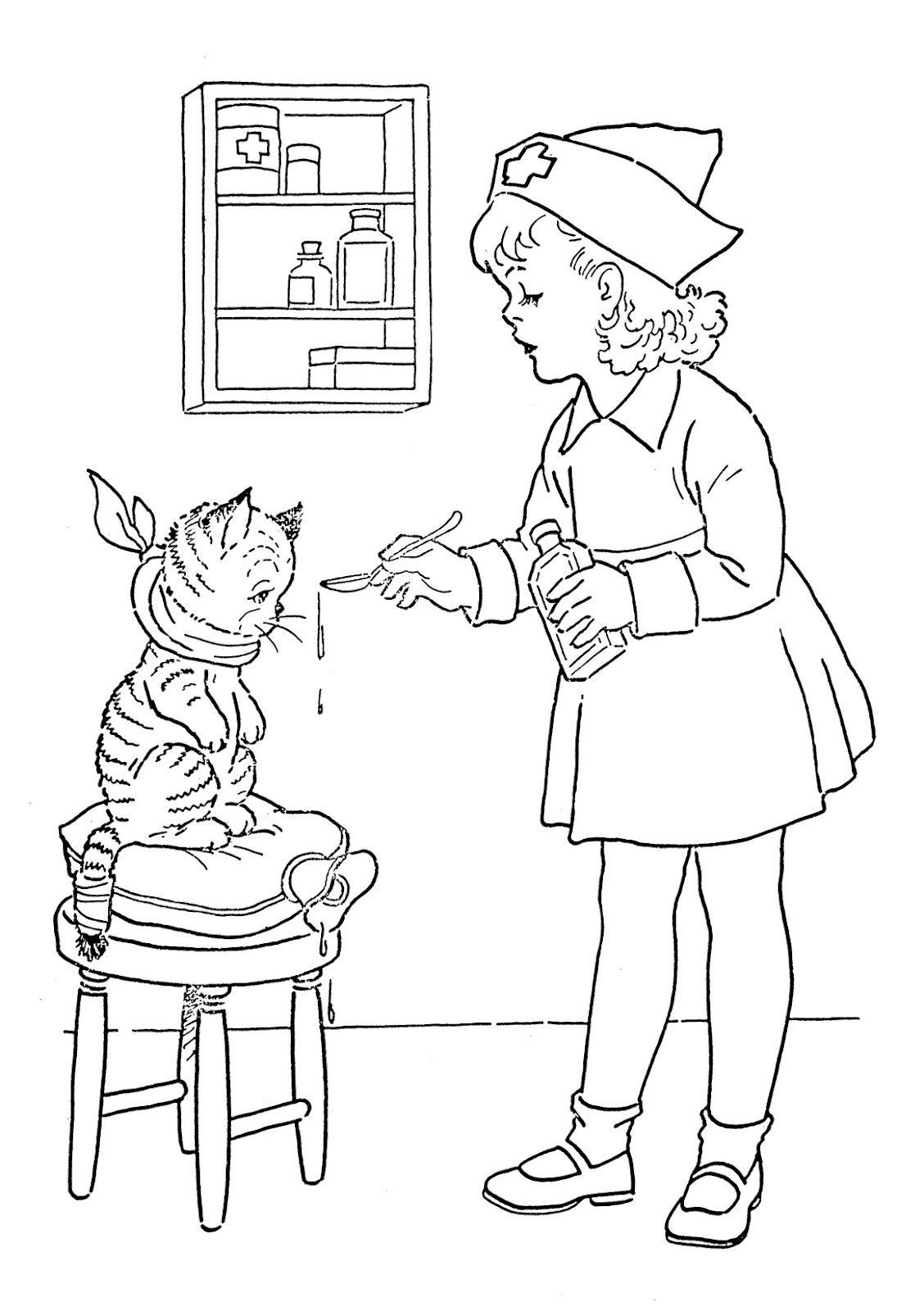 Kids Vintage Printable - Coloring Page - Lil Nurse | Coloring Pages ...