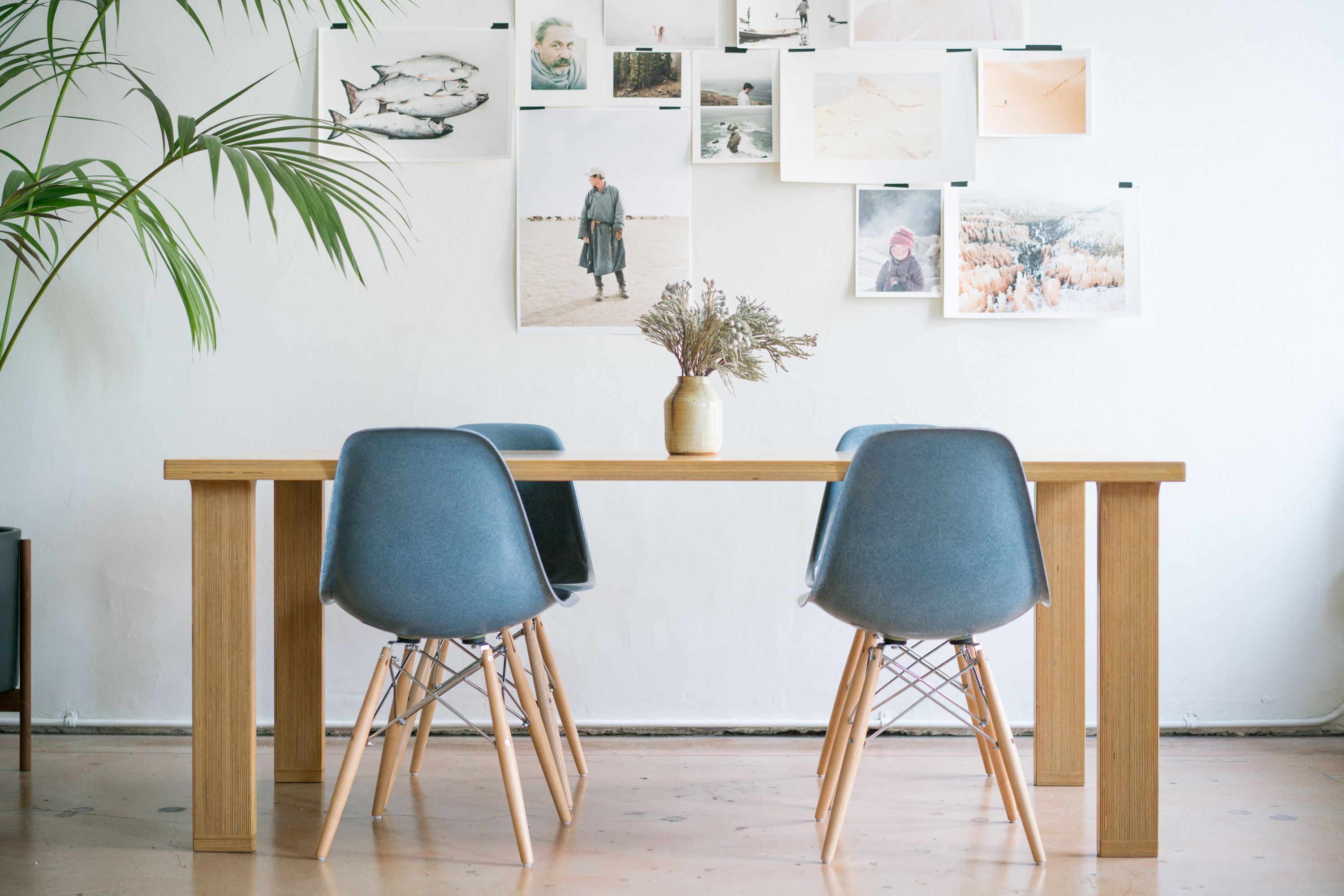 Modernica Tenon Table and Case Study Fiberglass Shell Chairs in
