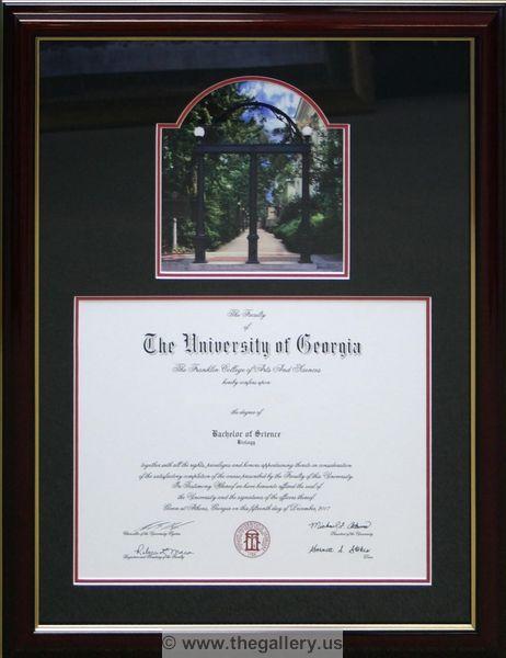 University of Georgia diploma with UGA Arch photo. cross stitch ...