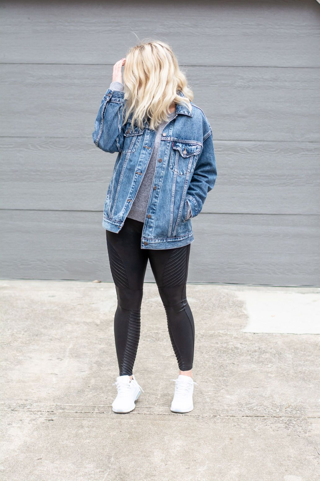 Oversized Jean Jacket Spanx Moto Leggings Lsr Athleisure Outfits Leggings Jean Jacket Outfits Summer Outfits With Leggings [ 1547 x 1031 Pixel ]