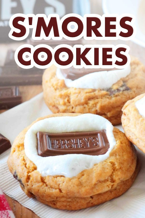 Easy S'mores Cookies S'mores Cookies   Leave open flames and messes behind --these S'mores cookies are better than the real thing. Each cookie comes equipped with its own gooey marshmallow and melty chocolate.