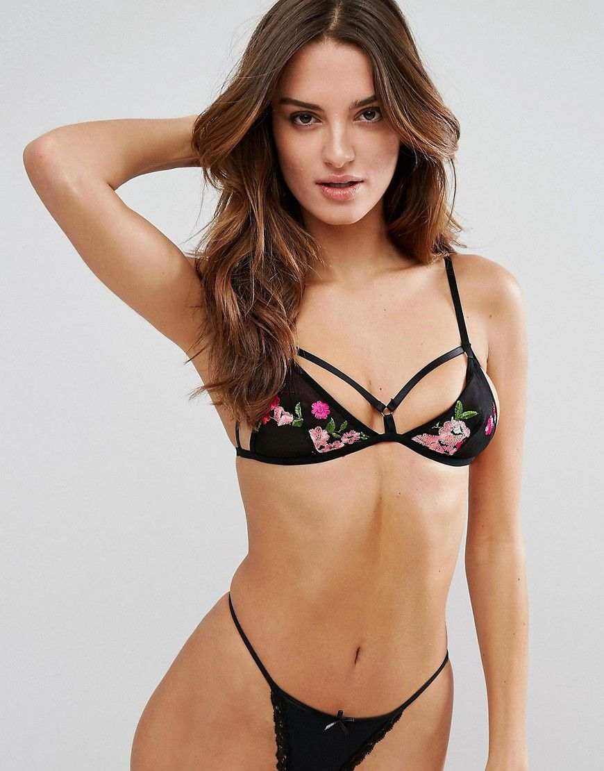 New Lower Prices Embroidered Floral Bralet - Black New Look Cheap Sale Shop Cheapest Price Cheap Price Sale Manchester Great Sale TVflFt