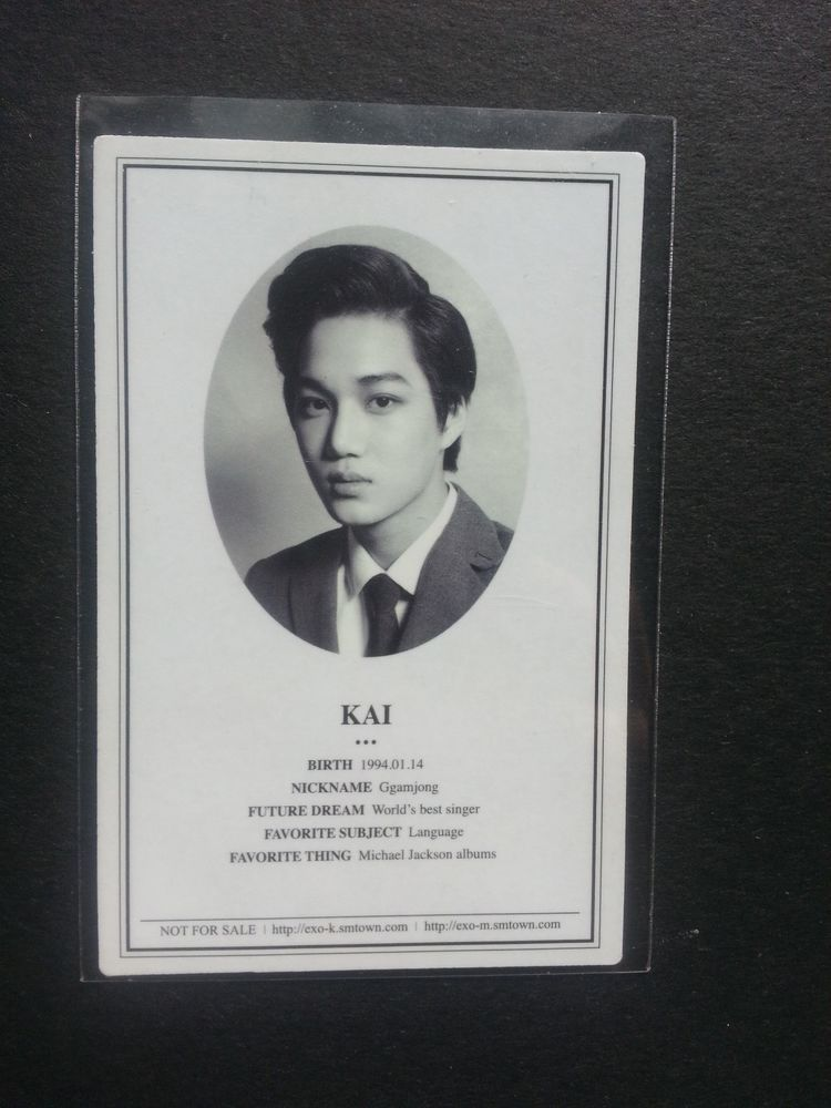 Exo K Kai Xoxo Official Photocard St Album Photo Id Card Jong In