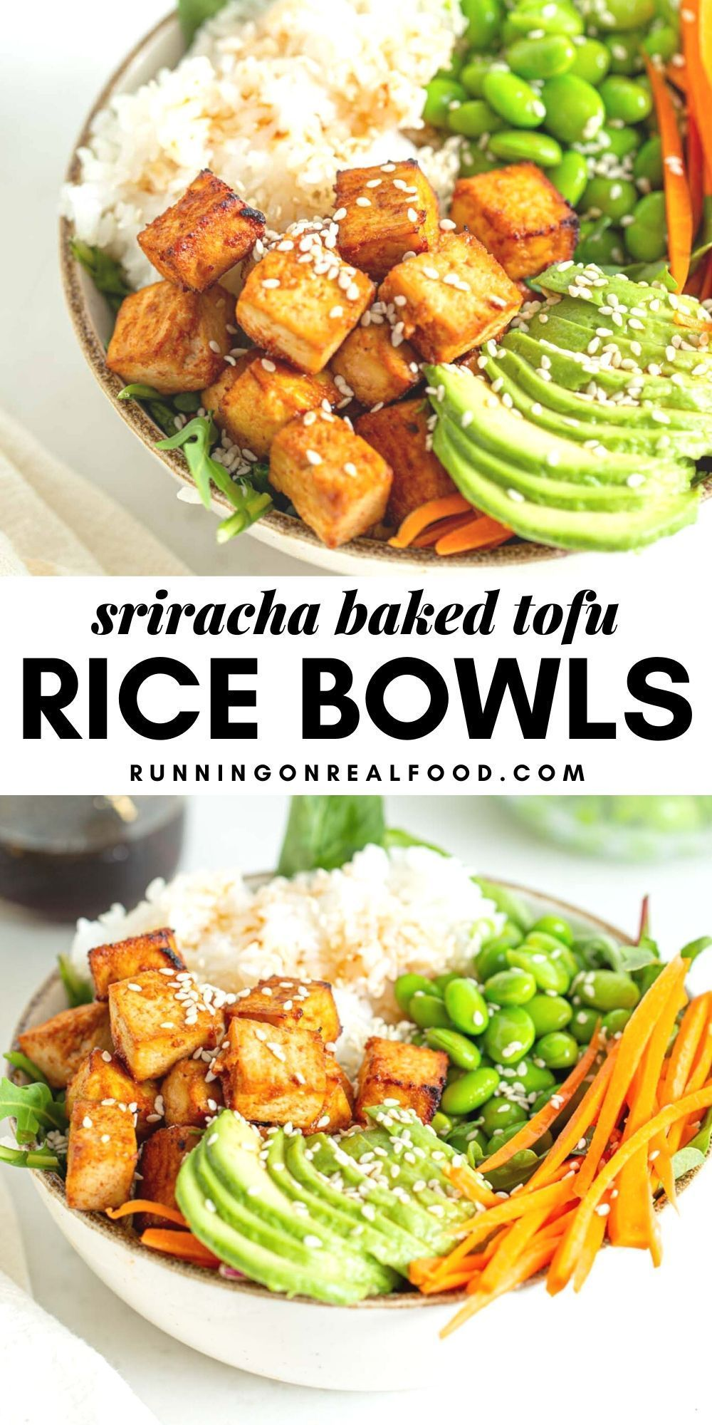 Sriracha Baked Tofu Rice Bowls Recipe In 2020 Rice Bowls Recipes Tofu Veggie Recipes
