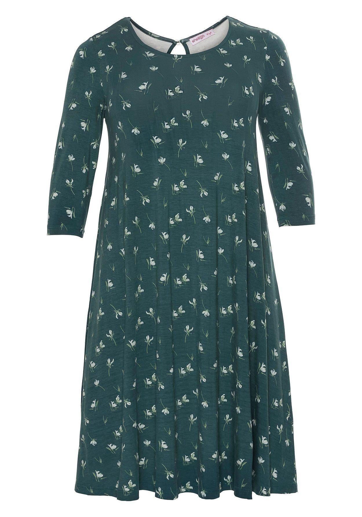 jerseykleid mit 3/4-Ärmeln - tiefgrün bedruckt in 2020