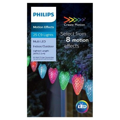 Philips 25ct Christmas Led 8 Function Faceted C9 String Lights