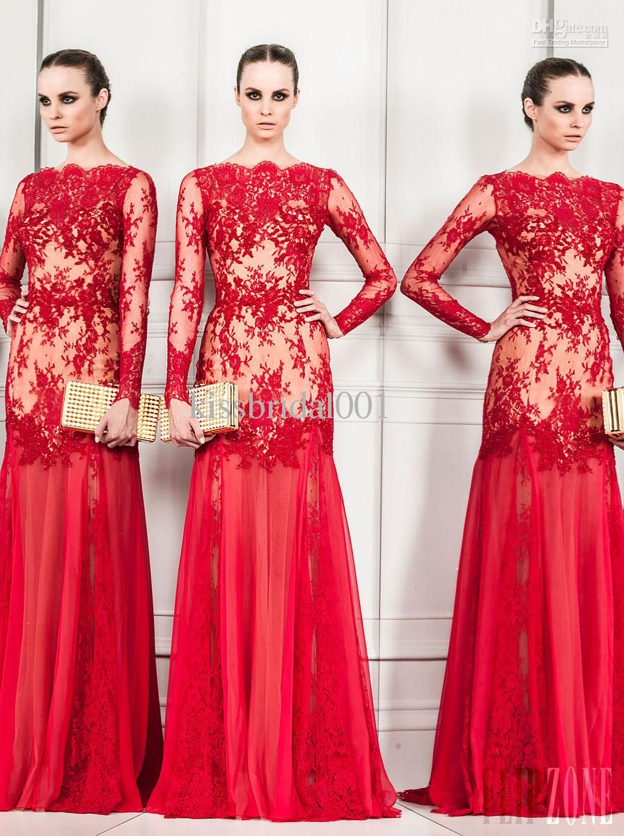 Discount zuhair murad modest red mermaid lace and chiffon see