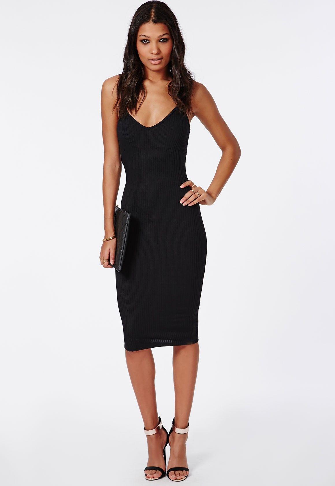 Ribbed Strappy Bodycon Midi Dress Black - Dresses - Midi Dresses ...