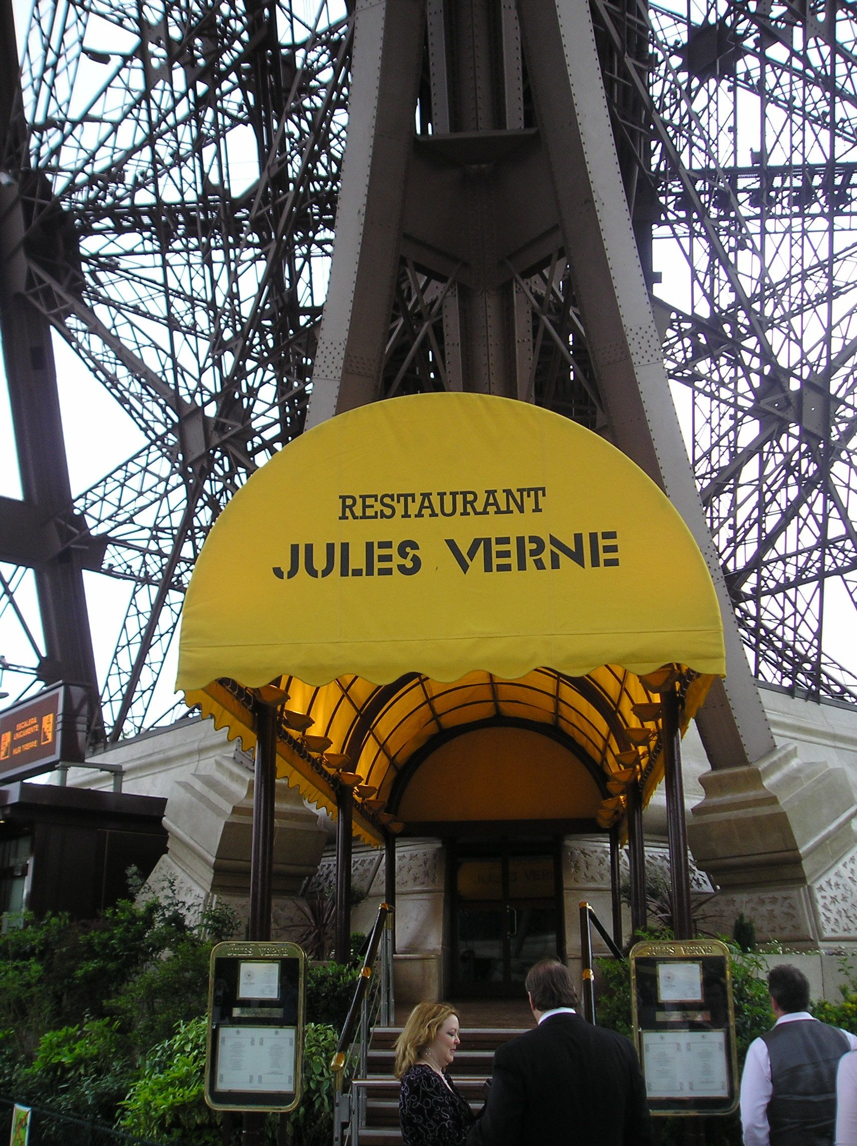 Eating dinner in the famous Eiffel Tower