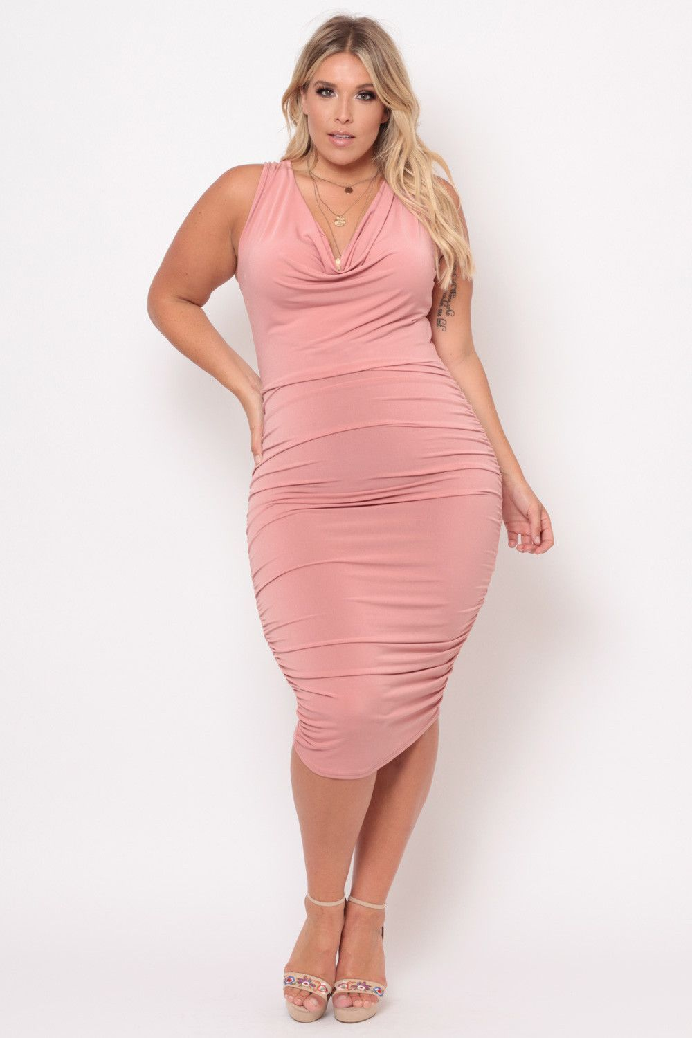 Plus Size Cowl Neck Bodycon Dress - Dusty Rose | Products ...