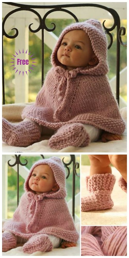 Knit Little Peach Baby Poncho Free Knitting Pattern #babyponcho