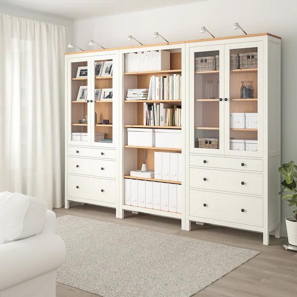 Hemnes Storage Combination W Doors Drawers White Stained Light Brown 106 1 4x77 1 2 Ikea In 2020 Hemnes Hemnes Bookcase Ikea Hemnes
