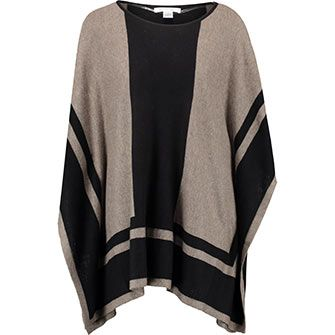 Taupe Striped Woven Poncho