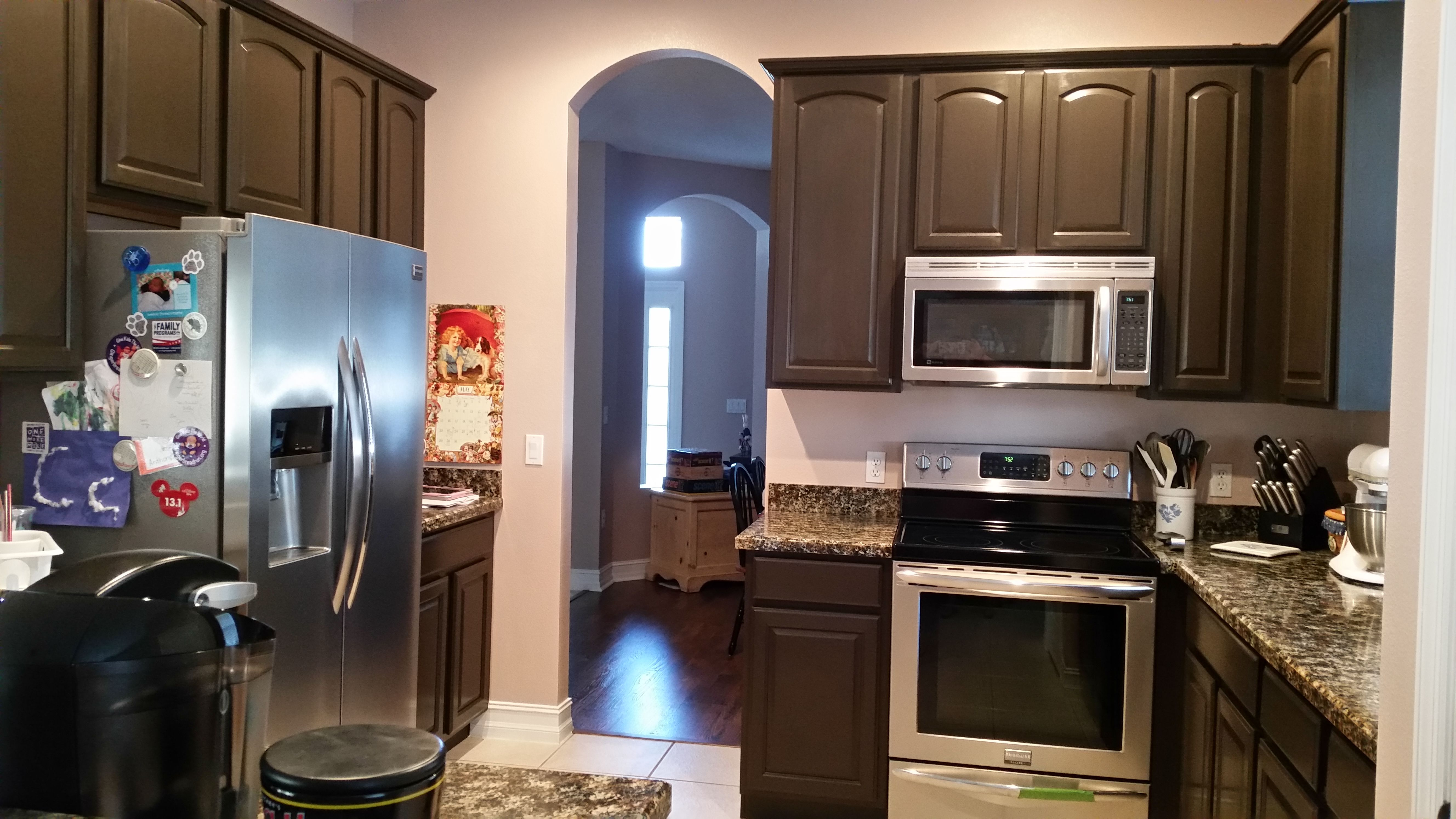 Kitchen after nuvo cabinet paint in cocoa couture love this product