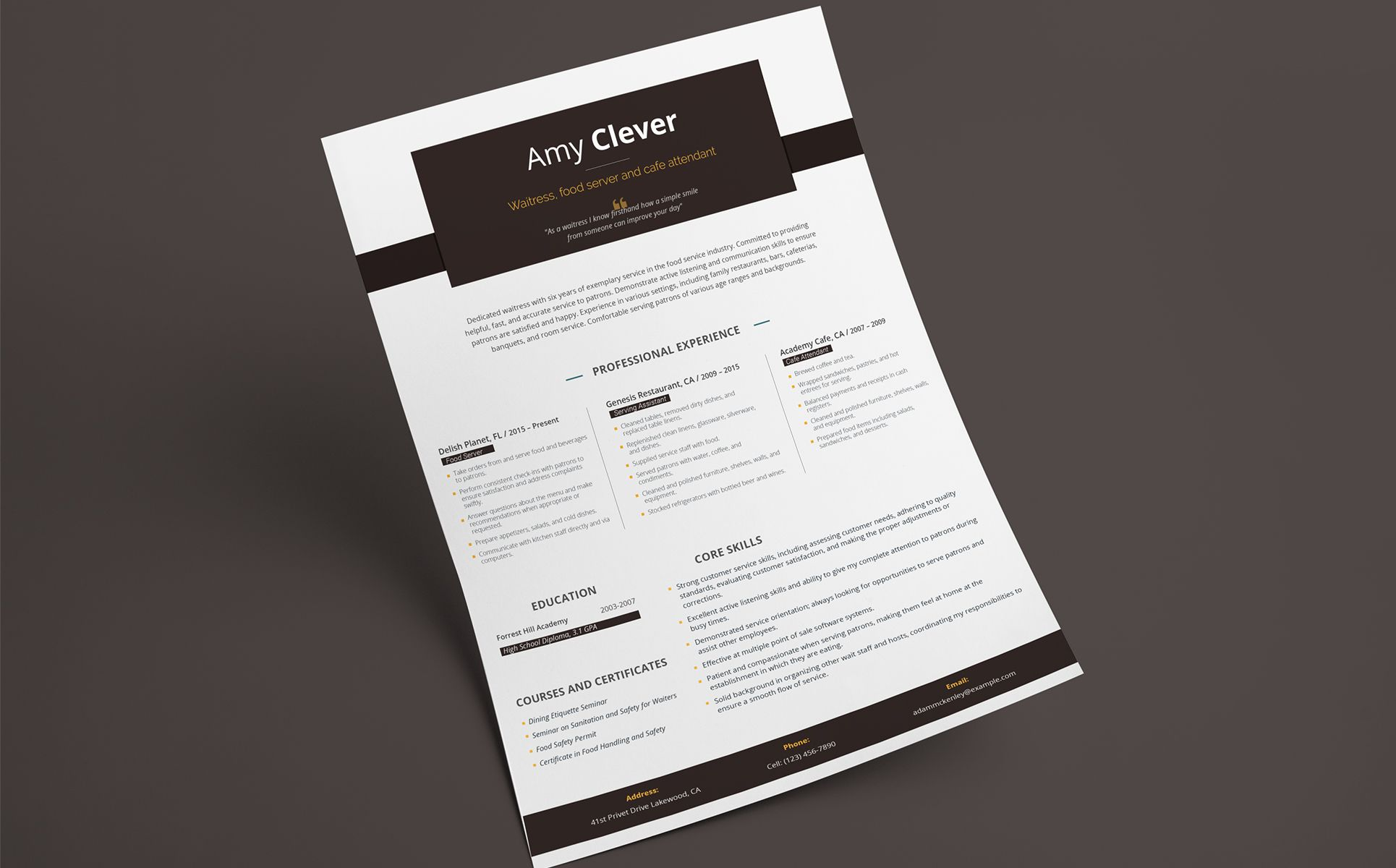 Amy Clever Waitress Food Server And Cafe Attendant Resume Template Waitress Food Amy Clever Resume Resume Template Resume Social Media Design Graphics