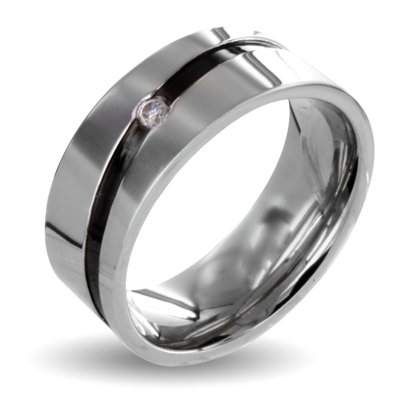 West Coast Jewelry Men's Stainless Steel Cubic Zirconia