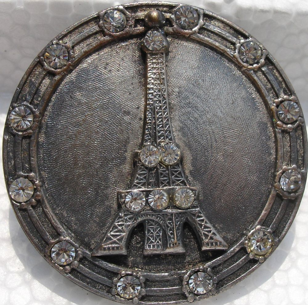 """EIFFEL TOWER W/RHINESTONES""PARIS~1940s METAL VINTAGE ANTIQUE PICTURE BUTTON"