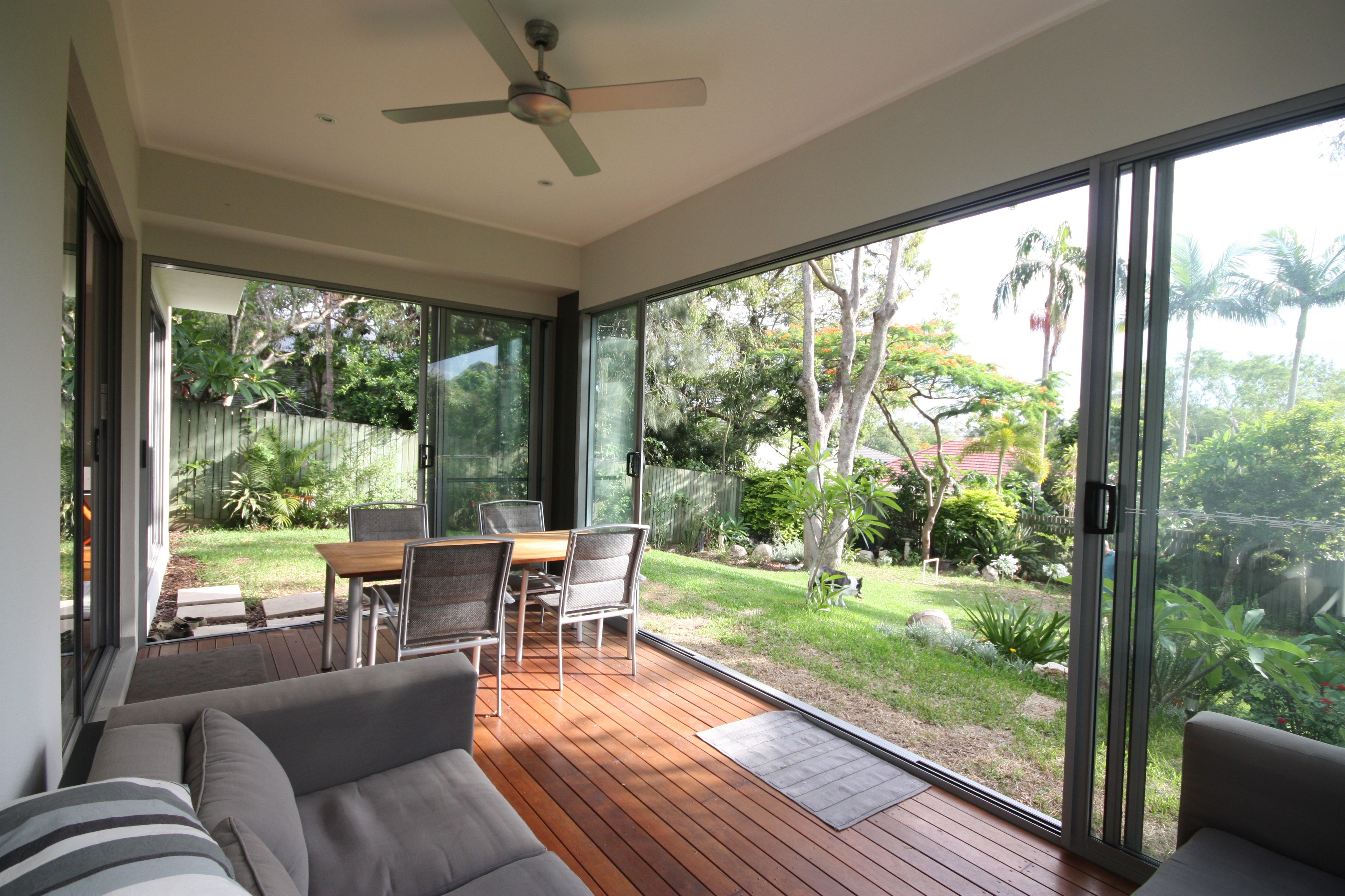 Alfresco Area, Deck, Sliding Doors, Enclosed, Outdoor Dining.