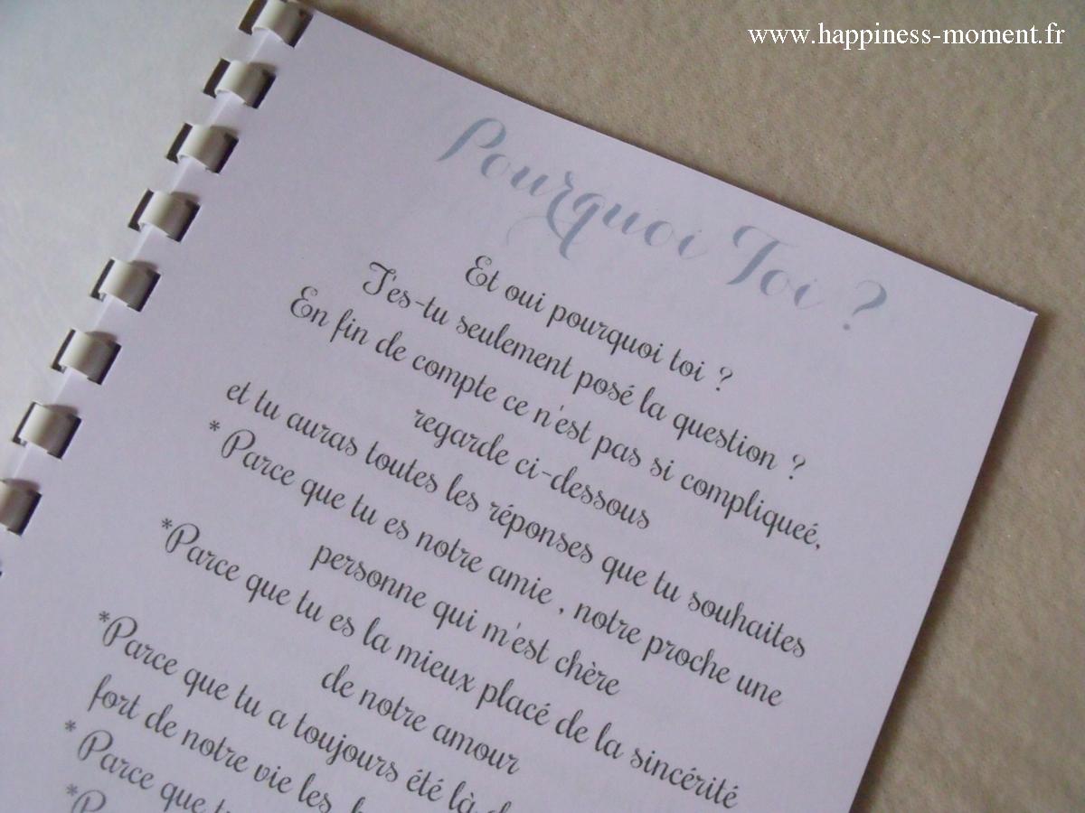 Livrets Du Parfait T Moin Pour Le Mariage Damandine Et