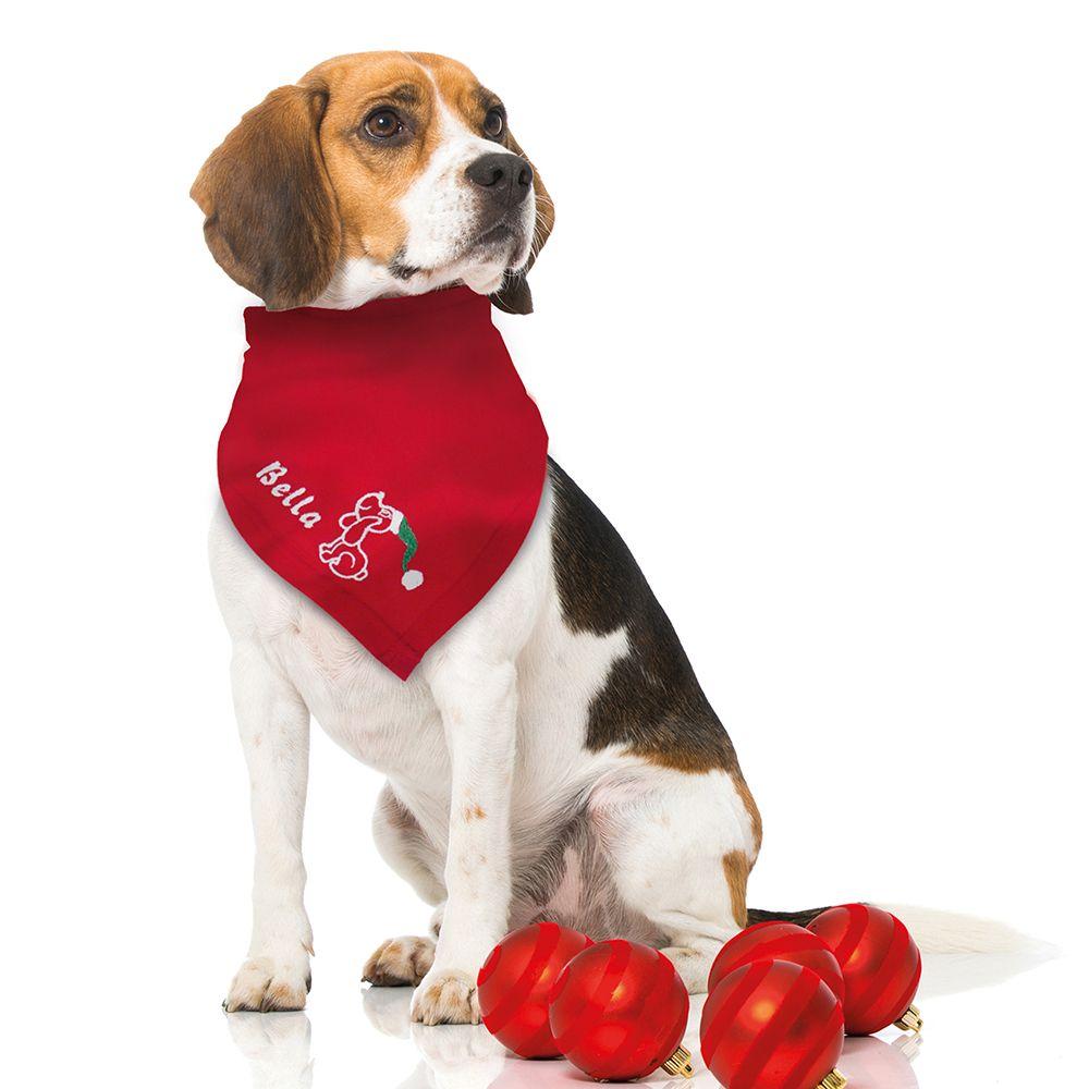 Besticktes Weihnachts-Halstuch Weihnachtshund + Name #schecker #hund ...