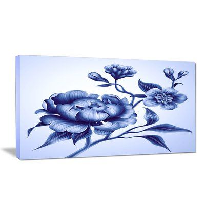 Design Art 'Blue Peony Rose and Sakura Flowers' Graphic Art Print on Wrapped Canvas #bluepeonies