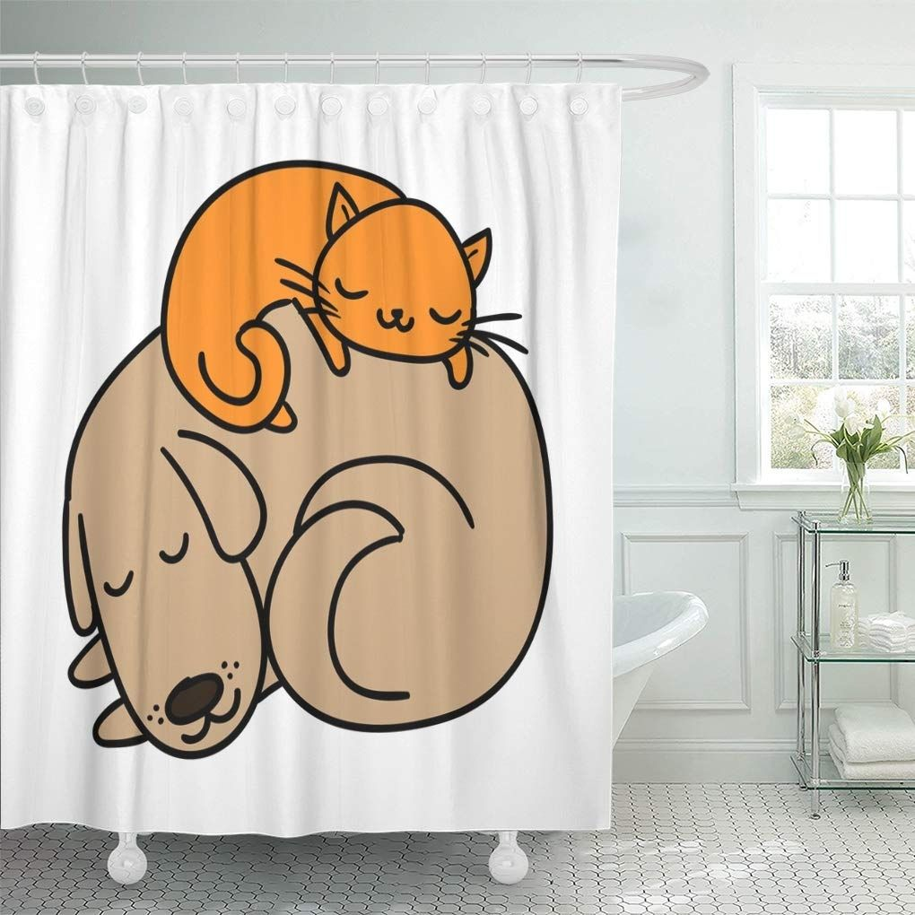 Cute Sleeping Dog And Cat Best Friends Adorable Cartoon Shower Curtain In 2020 Bathroom Decor