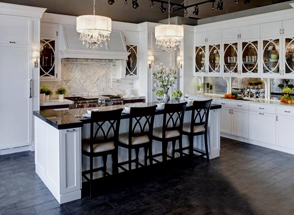 Contemporary kitchen basement pinterest kitchens chandeliers contemporary kitchen mozeypictures Image collections