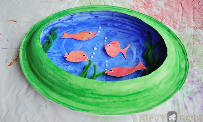 preschool craft making a 3d fish scene with paper plates