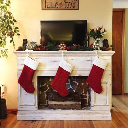 Distressed faux fireplace do it yourself home projects from ana distressed faux fireplace do it yourself home projects from ana white solutioingenieria Image collections