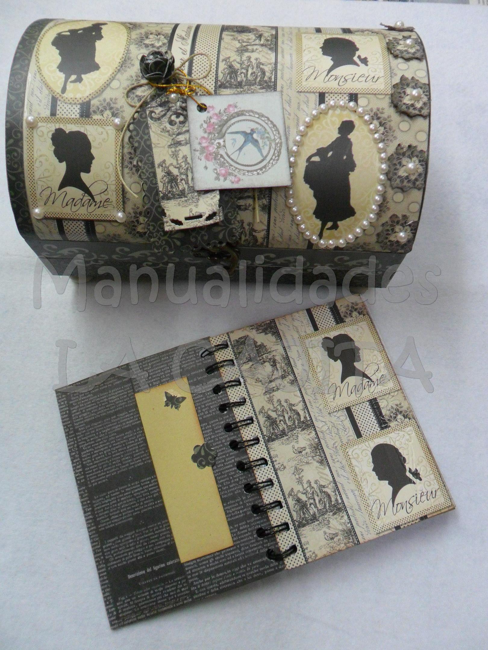 Baulito de madera decorado con agenda a juego. Decorado con pintura Chalk tiza, papel de scrap doble cara y accesorios de perlitas, relieves, filigranas y estarcidos.