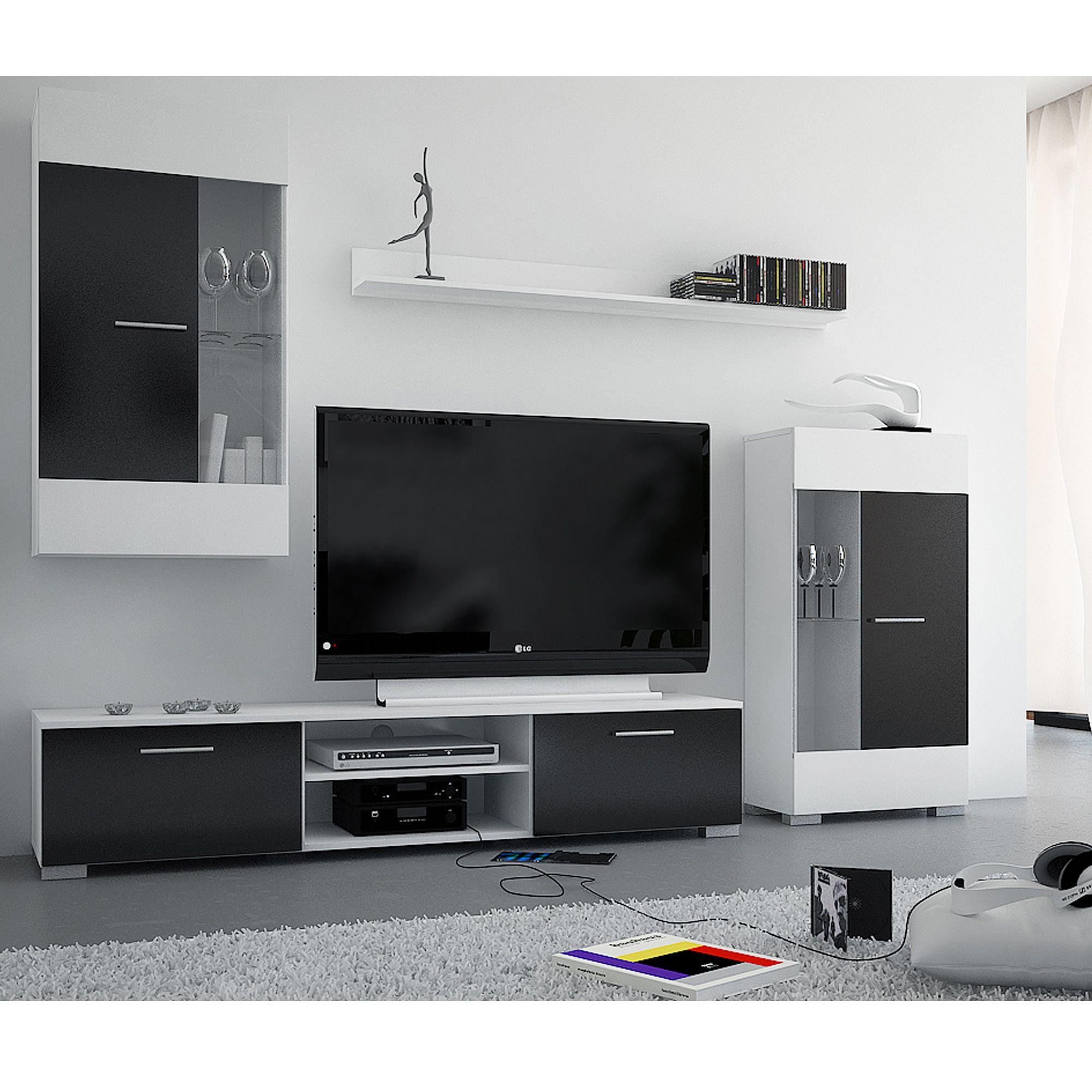 Ensemble meuble tv bravo noir blanc prix promo la maison for Meuble tv promotion