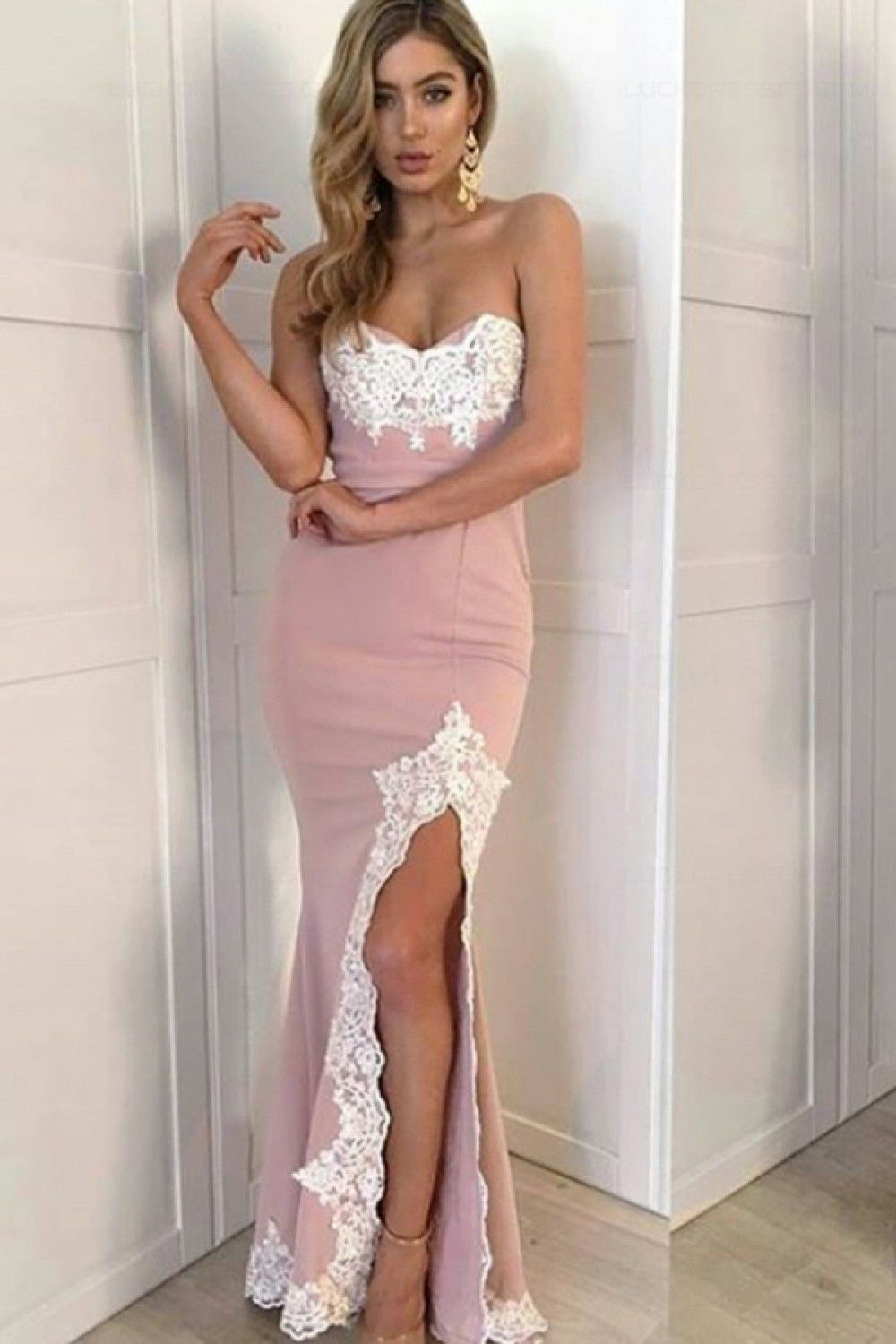 Mermaid sweetheart lace side slit long prom evening formal dresses