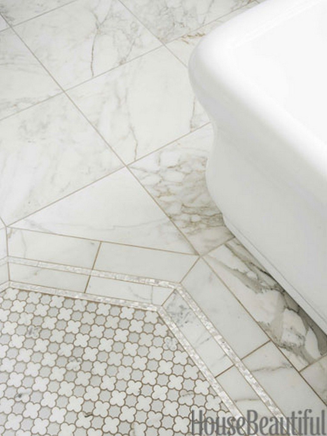 beautiful white hexagon pearl shell tile bathroom inspiration