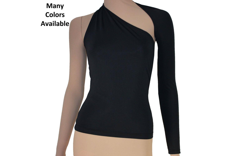 30de98f205e1ea Backless Top One Shoulder Sexy Shirt Black Open Back Long Sleeved ...