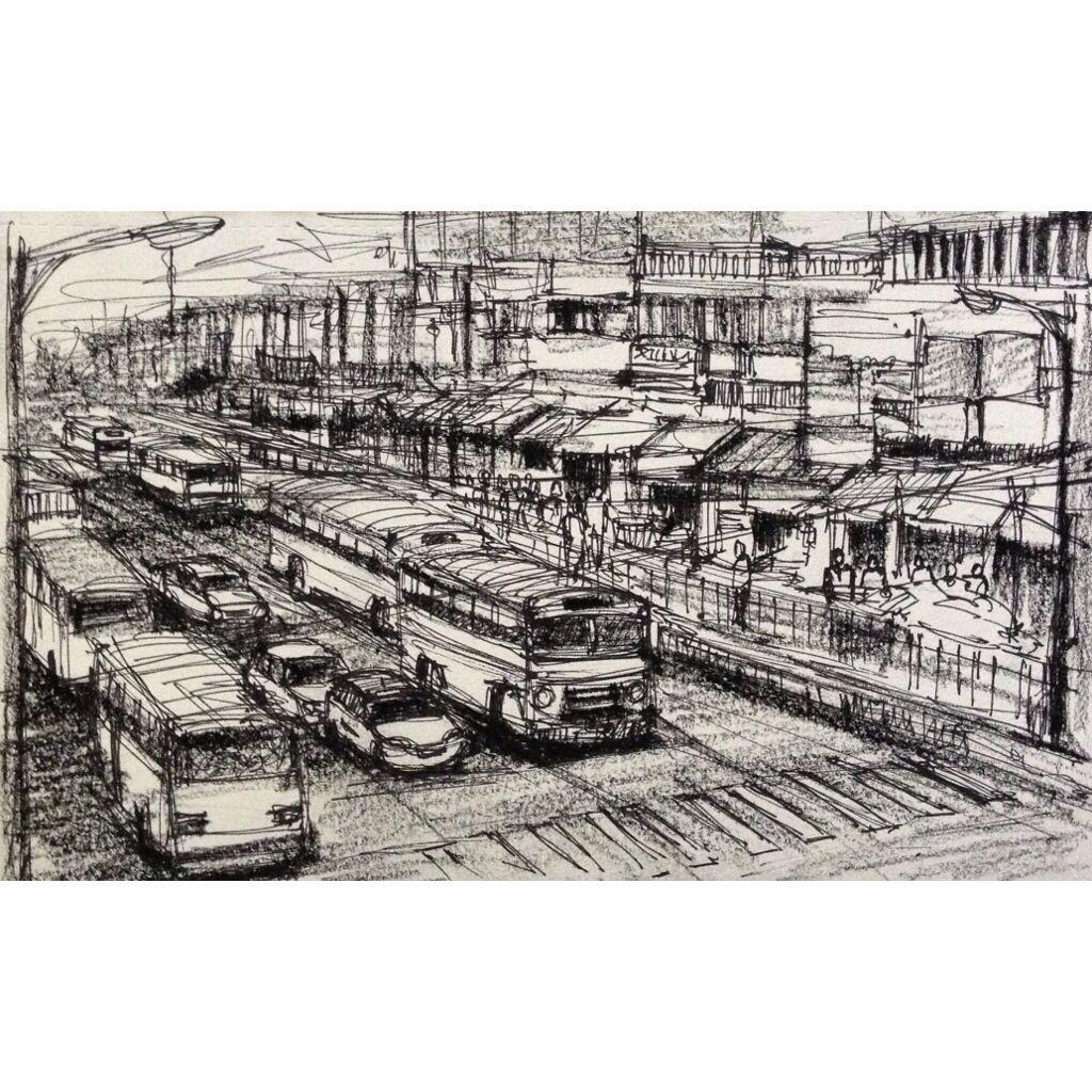 Kolkata Pencil Sketch Black And White