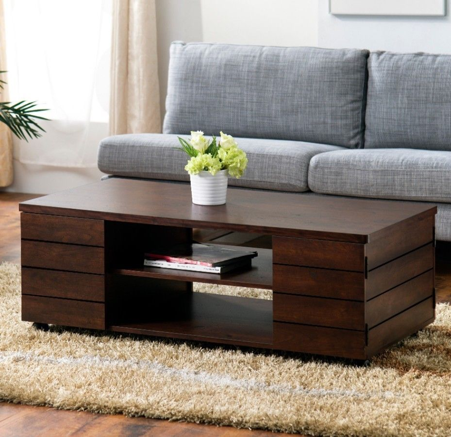 Vintage Walnut Finish Coffee Table With Storage Living Room Furniture New