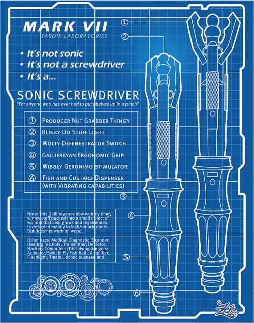 Blueprint of the sonic | Fandoms | Sonic screwdriver, Tardis