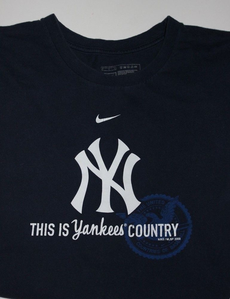 Nike New York NY Yankees T Shirt This is Yankee Country Mens L Large Navy  Blue  Nike  ShirtsTops 736c9078756