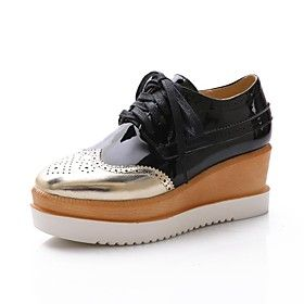 Women's Shoes Patent Leather Wedge Heel Comfort Oxfords Dress More Colors available