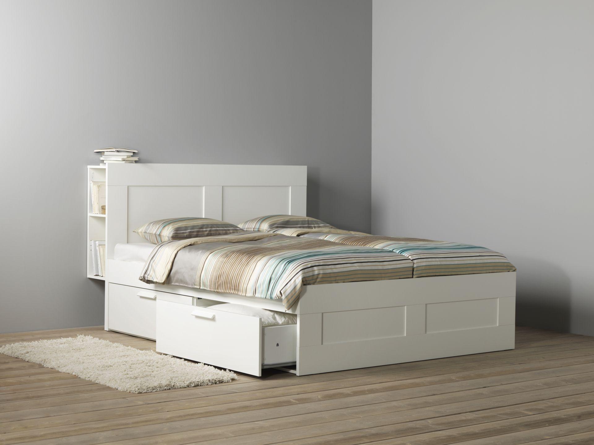 BRIMNES bedframe met opberger en bedeinde | #IKEAcatalogus #nieuw ...