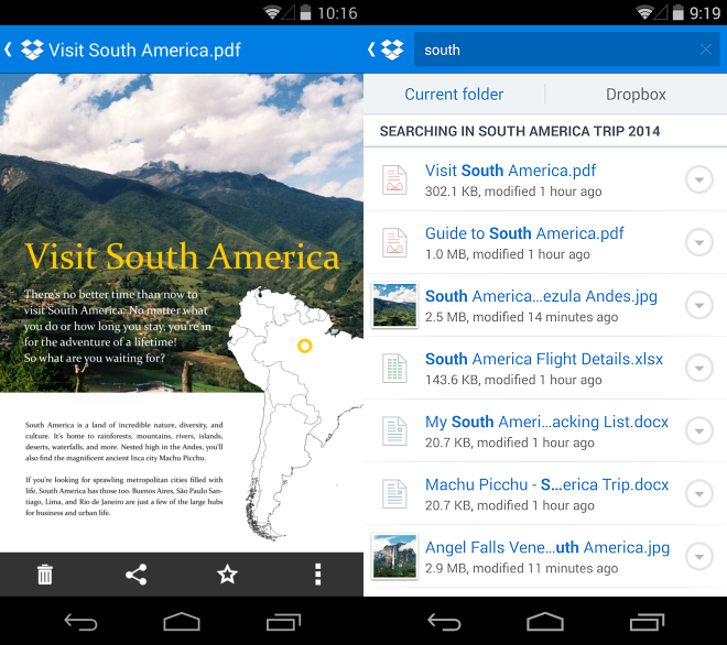 Dropbox for Android Gets Document Previews, Smarter Search