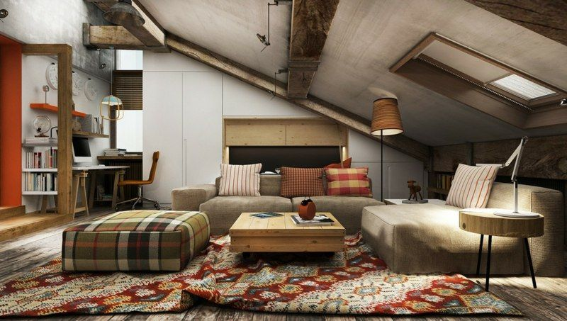 Wohnideen mit Dachschräge im industriellen Stil | Dachboden Ideen ...