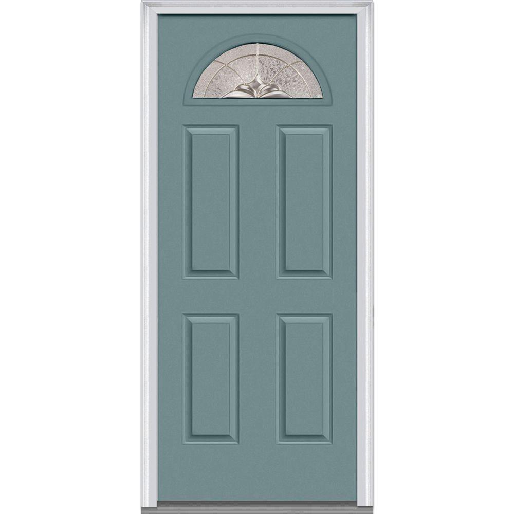 Mmi Door 36 In X 80 In Heirlooms Right Hand Inswing 1 4 Lite Decorative 4 Panel Painted Fiberglass Smooth Prehung Front Door Z002782r Prehung Interior Doors Painted Paneling Mmi Door